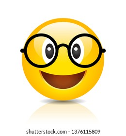 Clever emoji with glasses on white background