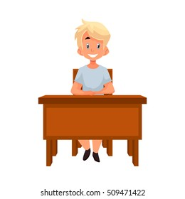 Clever school boy sitting at the desk with an open book, cartoon style vector illustration isolated on white background. blond boy in school uniform sitting at the desk