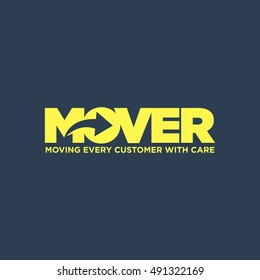 Clever Typography Moving business service. Vector graphics representing concept of moving