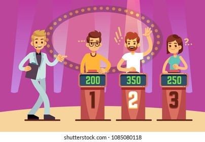 Clever young people playing quiz game show. Cartoon vector illustration. Tv competition people intelligent and educational