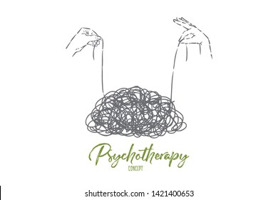 Clew untangling, hands holding thread ends, unravel tangle, messy mind, confusion, psychotherapy metaphor. Brainstorming, problem solving, psychology concept sketch. Hand drawn vector illustration