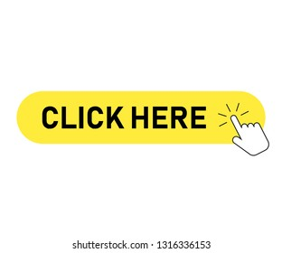 Click button with hand pointer clicking, isolated vector icon