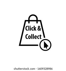 Click and collect black icon. Clipart image isolated on white background
