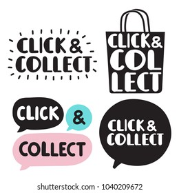 Click and collect. Set of hand drawn doodles badges, icons. Flat vector illustrations on white background.