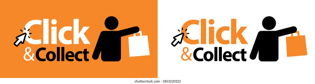 Click and collect with silhouette and bag
