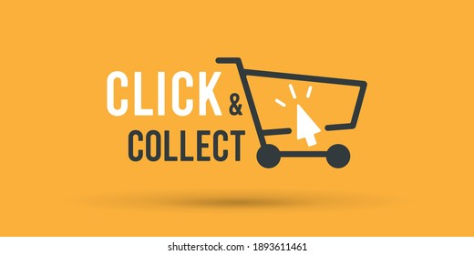 Click and collect store cart sign. Vector illustration