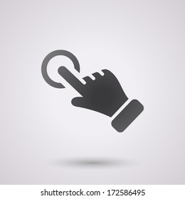 click hand icon for business, isolated, black color