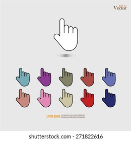 click. hand icon pointer.hand sign.hand.vector illustration