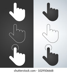 Click hand icon set, click hand icon vector, flat design. White and black illustration.