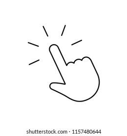 Click hand pointer cursor icon, finger clicking vector