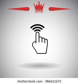 Click, hand vector icon.