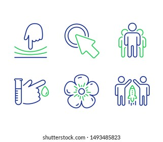 Click here, Blood donation and Group line icons set. Elastic, Natural linen and Partnership signs. Push button, Medicine analyze, Managers. Resilience. Science set. Vector