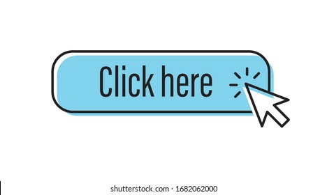 Click here button with arrow clicking icon. Mouse pointer.