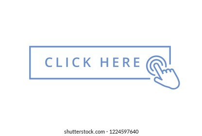 Click here button with hand pointer clicking. Touch vector icons set. Illustration isolated for graphic and web design. Web design navigation button icon. UI UX design modern symbol blue click here