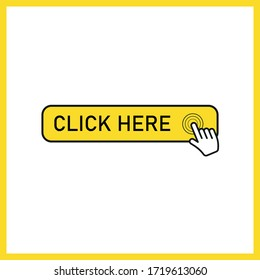 Click here button with hand pointer clicking. Vector illustration.