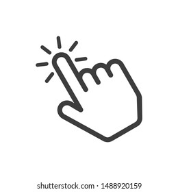 Click here the button. Hand sign with touching a buttons or pointing finger. Hands cursor icon. Vector illustration in flat style. EPS 10.