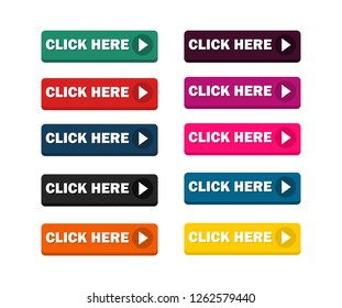 Click Here button set - Vector. icons web.