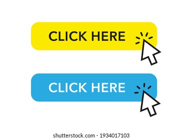 Click here buttons with cursor pointer. Buttons for web and app.