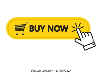 Click here Buy now button with a shopping cart. Online shopping. Order online. Vector illustration