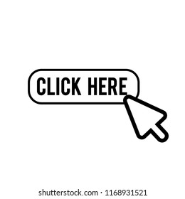 Click here icon, hand vector