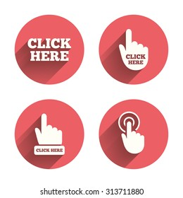 Click here icons. Hand cursor signs. Press here symbols. Pink circles flat buttons with shadow. Vector