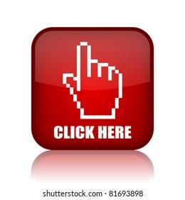 Click here vector button, eps10
