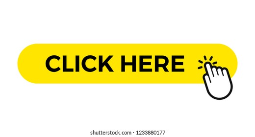 Click here vector web button template, yellow bar with hand finger click cursor