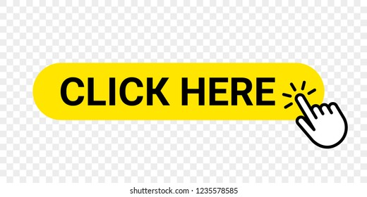 Click here vector web button. Isolated website buy or register yellow bar icon with hand finger clicking cursor for buy or register design template