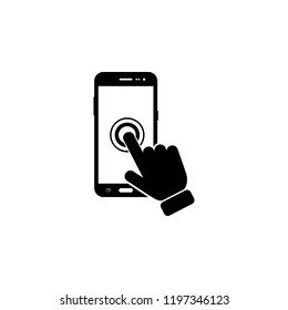 The click on the screen mobile phone icon. Element of touch screen technology icon. Premium quality graphic design icon. Signs and symbols collection icon for websites