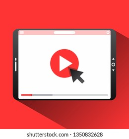 Click play the video here vector thumbnail for opening video background. Video conference and webinar icon, internet and video services. Vector illustration EPS.8 EPS.10