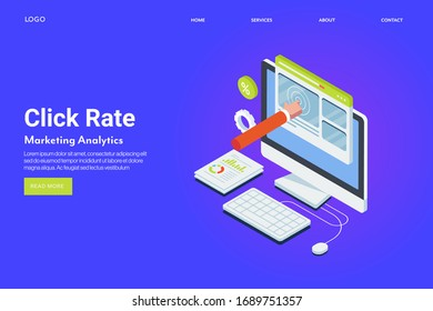 Click through rate - CTR, Pay per click - PPC - Click rate - conceptual landing page vector template
