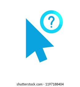 Click vector icon, cursor symbol with question mark. Cursor arrow icon and help, how to, info, query symbol. Vector illustration