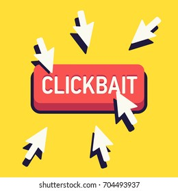 Clickbait concept vector illustration with multiple cursor arrows and abstract click button. Sharing site and social media bait content