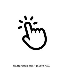 Clicking finger icon, hand pointer vector
