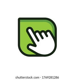 clicking finger to leaf vector template logo