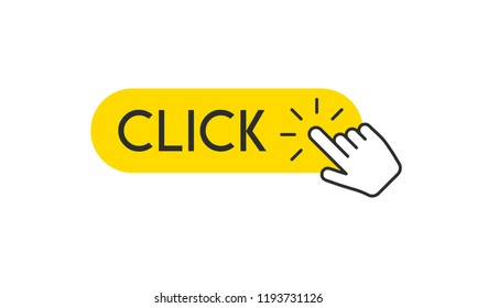 Clicking hand on click button, pointer vector icon