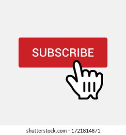 Clicking on red subscribe button isolated on background. Subscription symbol modern, simple, vector, icon for website design, mobile app, ui. Vector Illustration