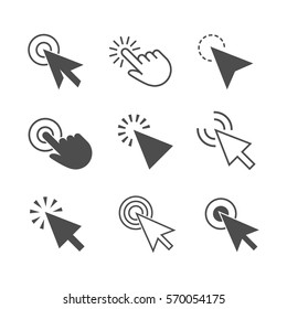 "Clicks cursor or pointer vector icon set. Press or click the button, link, or ""here"". Click arrow and hand with a finger."