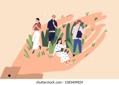 Client care, convenient service flat vector illustration. Application user advantages, customer privileges, buyer liberties concept. People with smartphones on human hand cartoon characters.