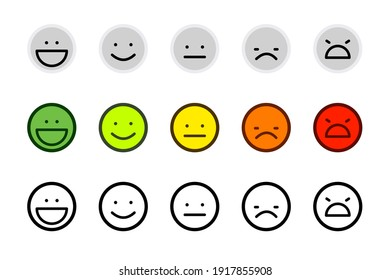 Client feedback vector illustration. Customer satisfaction scale emoji. Mood indicator with emotion measurement from happy to angry. Flat design: bright, light grey and line