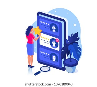 Client make a review or feedback. Can use for web banner, infographics, hero images. Flat isometric modern  vector illustration.