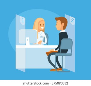 Client with manager at the bank office