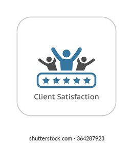 Client Satisfaction Icon. Business and Finance. Isolated Illustration.