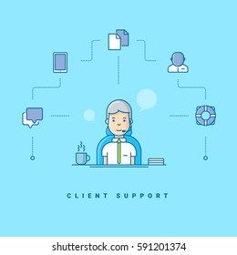 Client support. Cartoon character talking on headset. Vector illustration in blue with flat line icons