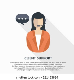 Client support vector illustration with text.