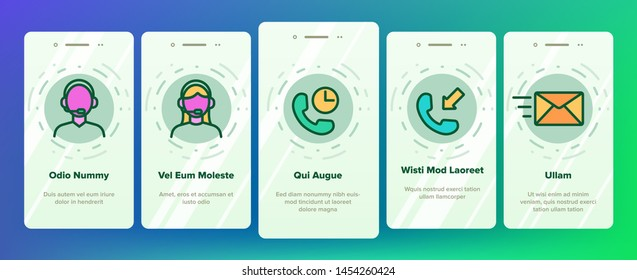 Client Support Vector Onboarding Mobile App Page Screen. Customer Support, Helpline, Helpdesk Consultants Linear. 24h Call Center Workers, Mobile App, Settings Notifications, Email Illustrations