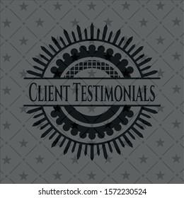 Client Testimonials retro style black emblem. Vector Illustration. Detailed.