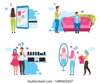 Clients choosing goods flat vector illustrations set. Customers in clothing shop, appliance and furniture store cartoon characters. Online shopping. Consumers buying products, buyers making purchases