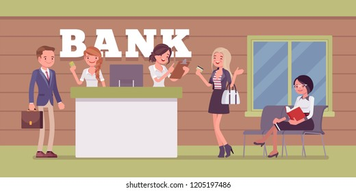 Clients and consultants in a bank office. Young assistants offering business banking products and services to customers, provide helpful financial information. Vector flat style cartoon illustration