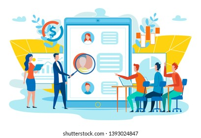 Clients Experience Improvement, Customers Online Behaviors Study, Developing Marketing Strategy for Target Audience Flat Vector Concept with Company Employees Analyzing Social Network User Profile